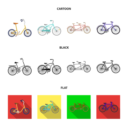Childrens bicycle, a double tandem and other types.Different bicycles set collection icons in cartoon,black,flat style vector symbol stock illustration . Ilustracja