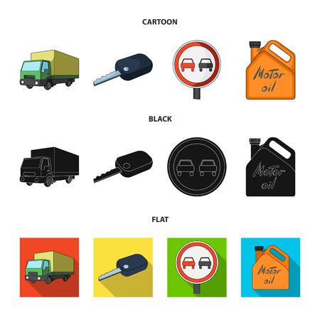 Truck with awning, ignition key, prohibitory sign, engine oil in canister, Vehicle set collection icons in cartoon,black,flat style vector symbol stock illustration web. Иллюстрация
