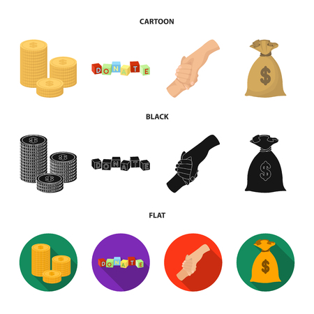 A pile of coins for donations, colored cubes with an inscription, a handshake, a bag of money for donations. Charity and donation set collection icons in cartoon,black,flat style vector symbol stock illustration .