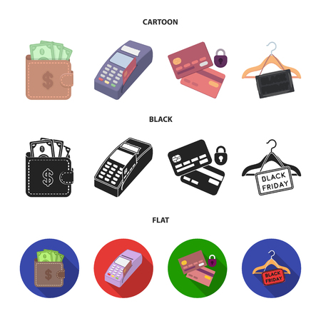Purse, money, touch, hanger and other equipment. E commerce set collection icons in cartoon,black,flat style vector symbol stock illustration web. Illustration