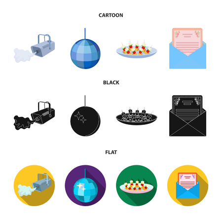 A video camera with smoke, a twirling holiday ball, a plate of sandwiches, an envelope with a greeting card. Event services set collection icons in cartoon,black,flat style vector symbol stock illustration web. Illustration