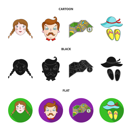 Travel, vacation, camping, map .Family holiday set collection icons in cartoon,black,flat style vector symbol stock illustration web. 向量圖像