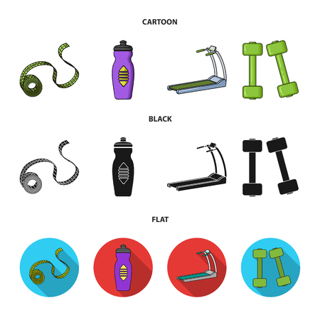 Measuring tape, water bottle, treadmill, dumbbells. Fitnes set collection icons in cartoon,black,flat style vector symbol stock illustration web. Stock Illustratie