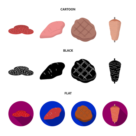 Pieces of salami, turkey fillet, grilled steak, kebab.Meat set collection icons in cartoon,black,flat style vector symbol stock illustration web. Vector Illustratie