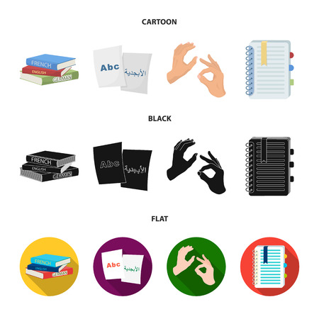 A pile of books in different languages, sheets of paper with translation, a gesture of deaf mutes, a notebook with text. Interpreter and translator set collection icons in cartoon,black,flat style vector symbol stock illustration . Stock Illustratie