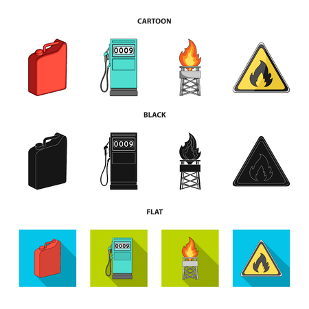 Canister for gasoline, gas station, tower, warning sign. Oil set collection icons in cartoon,black,flat style vector symbol stock illustration web.