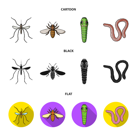 Worm, centipede, wasp, bee, hornet .Insects set collection icons in cartoon,black,flat style vector symbol stock illustration web.