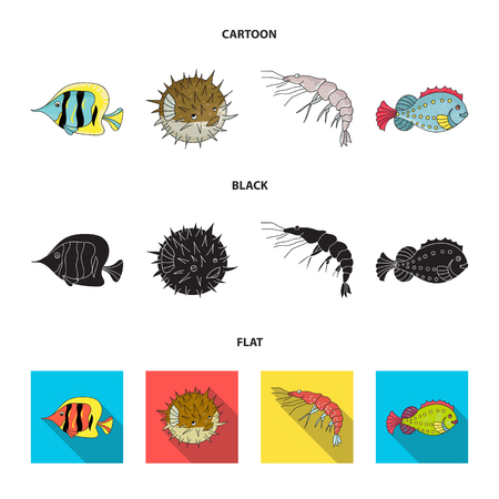 Shrimp, fish, hedgehog and other species.Sea animals set collection icons in cartoon,black,flat style vector symbol stock illustration web.