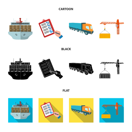 Sea freight, signature of delivery documents, truck, tower crane with a container. Logistics and delivery set collection icons in cartoon,black,flat style isometric vector symbol stock illustration web.