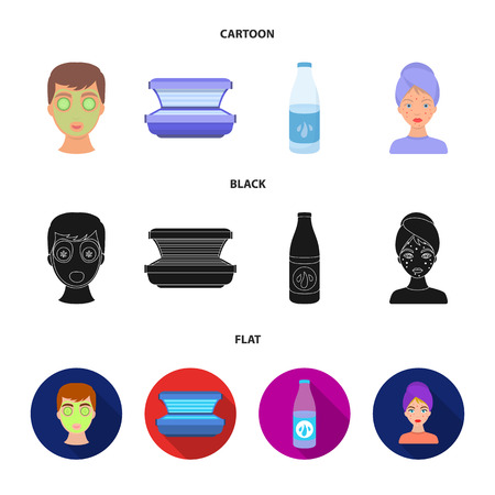 Face mask, solarium, bottle ts lasenom, pimples on face. Skin Care set collection icons in cartoon,black,flat style vector symbol stock illustration web.