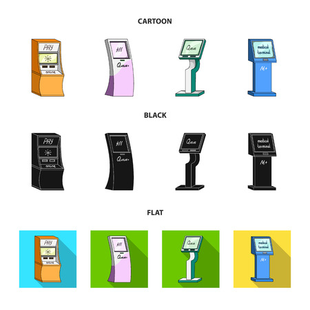 Medical terminal, ATM for payment,apparatus for queue. Terminals set collection icons in cartoon,black,flat style isometric vector symbol stock illustration web . 矢量图片