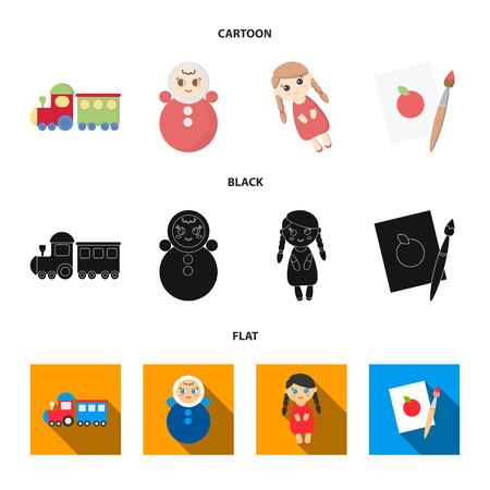 Train.kukla, picture.Toys set collection icons in cartoon,black,flat style vector symbol stock illustration web.