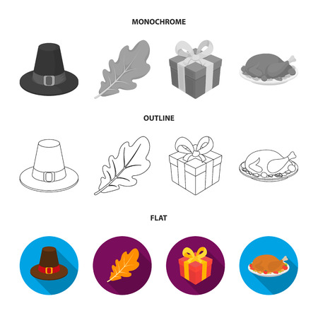 Hat of a pilgrim, oak leaf, gift in a box, fried turkey. Canada thanksgiving day set collection icons in flat,outline,monochrome style vector symbol stock illustration web.