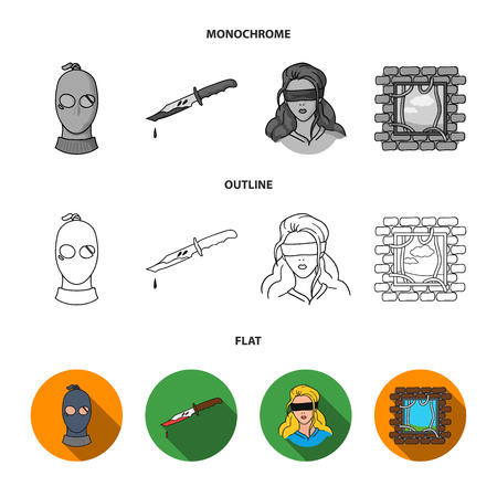 A thief in a mask, a bloody knife, a hostage, an escape from prison.Crime set collection icons in flat,outline,monochrome style vector symbol stock illustration web. Illustration