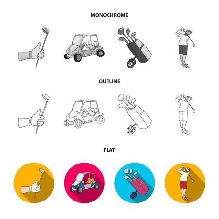 A gloved hand with a stick, a golf cart, a trolley bag with sticks in a bag, a man hammering with a stick. Golf Club set collection icons in flat,outline,monochrome style vector symbol stock illustration web.