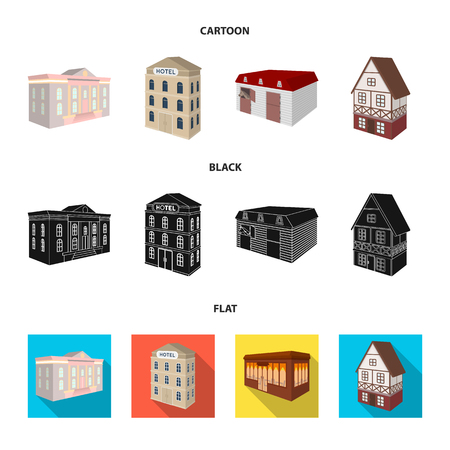 The museum building, a three-story hotel, a stable at the racecourse, a residential cottage. Architectural and building set collection icons in cartoon,black,flat style vector symbol stock illustration web.