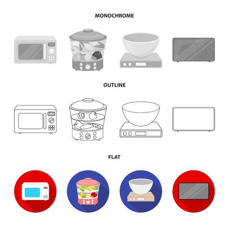 Vaporizador, horno microondas, escalas, tv lcd. Hogar configurar los iconos de la colección en el plano, contorno, monocromo estilo vector símbolo stock ilustración web.