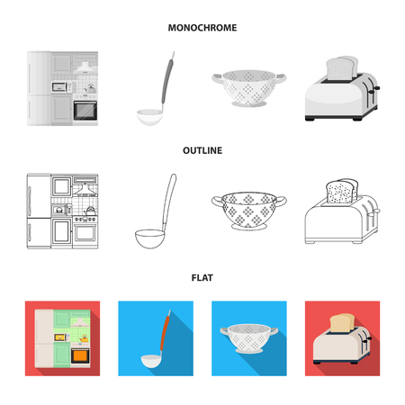 Kitchen equipment flat,outline,monochrome icons in set collection for design. Kitchen and accessories vector symbol stock web illustration.
