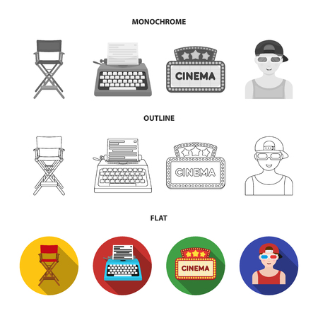 Chair of the director, typewriter, cinematographic signboard, film-man. Films and cinema set collection icons in flat,outline,monochrome style vector symbol stock illustration web.