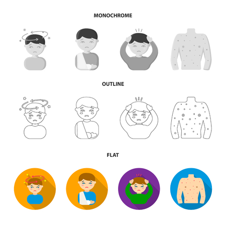 A boy with a headache, with stars, a man with a broken hand in a cast, a sick man grabbed his head with his hands, a man s torso with ulcers and a rash. Sick set collection icons in flat,outline,monochrome style vector symbol stock illustration web.