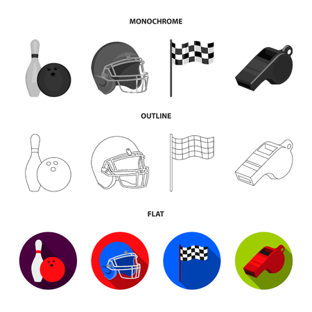 Bowl and bowling pin for bowling, protective helmet for playing baseball, checkbox, referee, whistle for coach or referee. Sport set collection icons in flat,outline,monochrome style vector symbol stock illustration web.