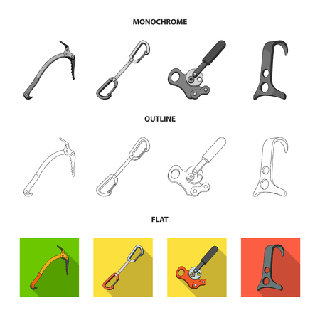 An ice ax, a carbine and other equipment.Mountaineering set collection icons in flat,outline,monochrome style vector symbol stock illustration web.