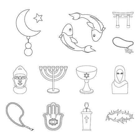 La religione e la credenza delineano le icone nella raccolta di set per il design. Accessori, preghiera simbolo d'archivio web illustrazione di vettore.