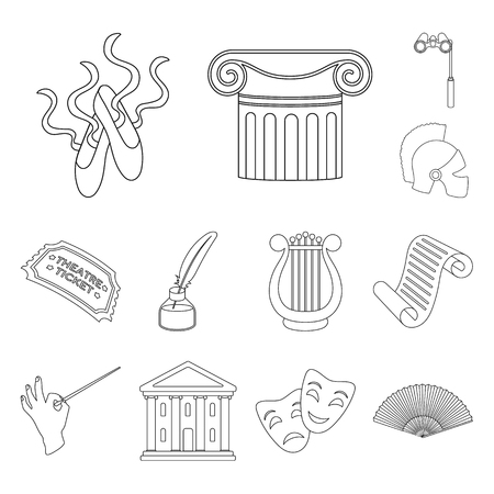 Theatrical art outline icons in set collection for design.Theater equipment and accessories vector symbol stock web illustration. Illustration