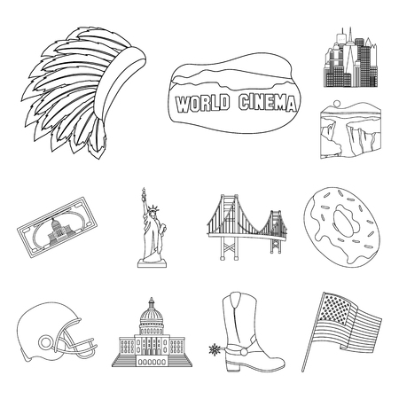 USA country outline icons in set collection for design.Travel and attractions vector symbol stock web illustration. Ilustração