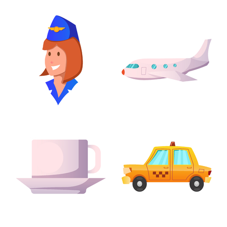 Vector design of airport and airplane sign. Collection of airport and plane stock symbol for web.
