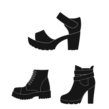 Different shoes black icons in set collection for design. Men s and women s shoes vector symbol stock web illustration. Vettoriali