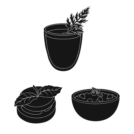 Vegetarian dish black icons in set collection for design.Vegetable and milk food vector symbol stock web illustration.