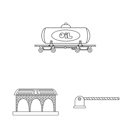 Isolated object of train and station icon. Set of train and ticket stock vector illustration.  イラスト・ベクター素材