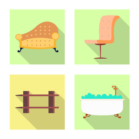 Isolated object of furniture and apartment sign. Collection of furniture and home stock vector illustration.