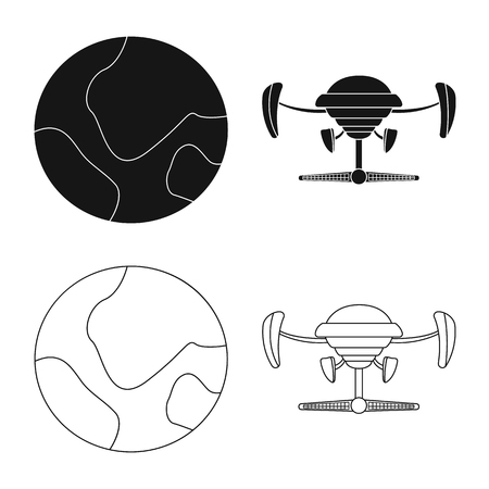 Vector design of mars and space icon. Set of mars and planet stock symbol for web.