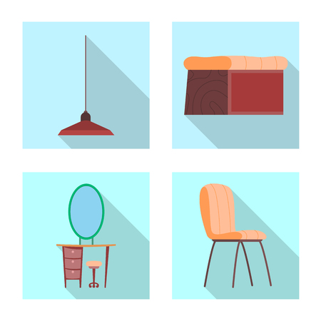 Isolated object of furniture and apartment sign. Collection of furniture and home stock symbol for web. Illusztráció