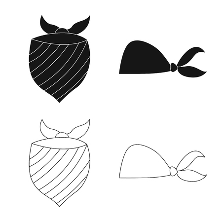 Vector design of scarf and shawl symbol. Collection of scarf and accessory stock symbol for web.
