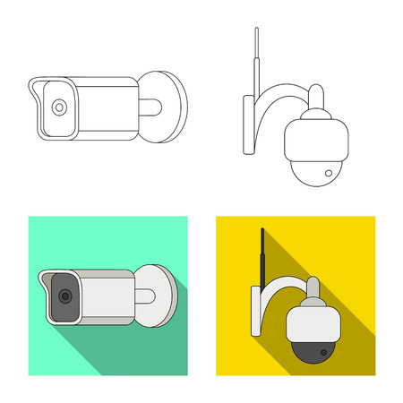 Vector design of cctv and camera icon. Set of cctv and system vector icon for stock. Illustration