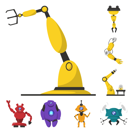 Isolated object of robot and factory logo. Set of robot and space stock symbol for web.