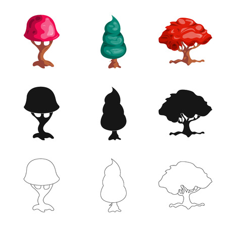 Isolated object of tree and nature symbol. Collection of tree and crown vector icon for stock.