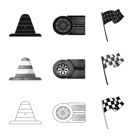 Isolated object of car and rally sign. Collection of car and race stock symbol for web.