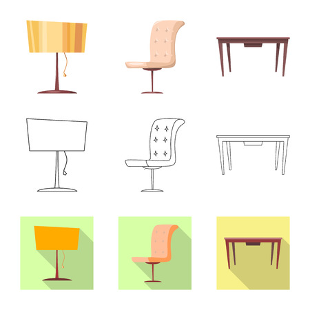 Vector illustration of furniture and apartment sign. Set of furniture and home stock symbol for web.