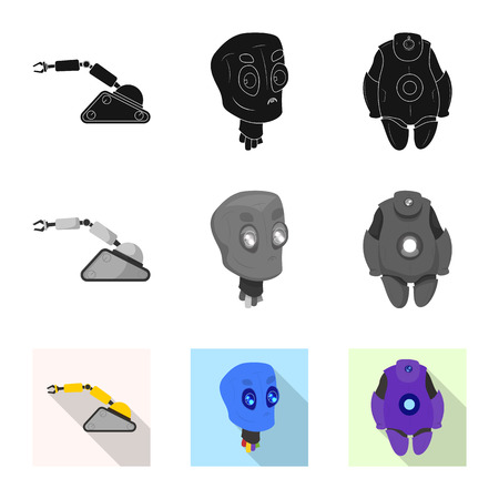 Vector illustration of robot and factory sign. Collection of robot and space stock symbol for web. Ilustrace