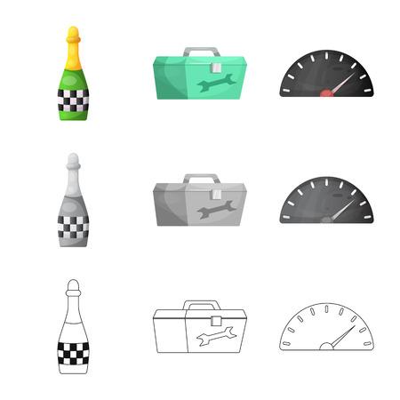 Vectorillustratie van auto- en rallypictogram. Set van auto en race aandelensymbool voor web.