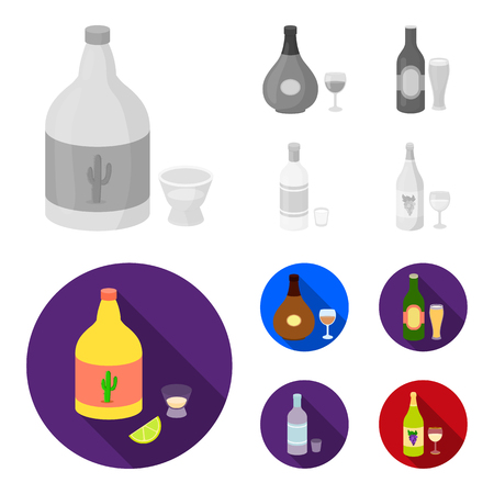 Tequila, cognac, beer, vodka.Alcohol set collection icons in monochrome,flat style vector symbol stock illustration web.