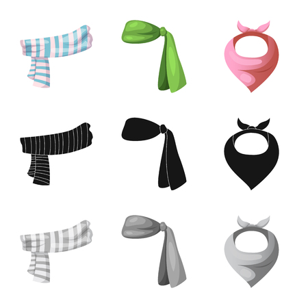 Vector illustration of scarf and shawl icon. Collection of scarf and accessory stock vector illustration.