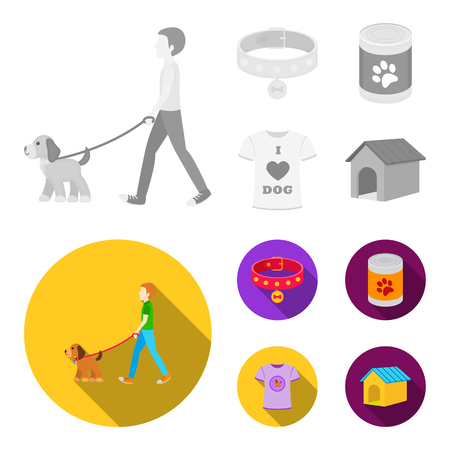 A man walks with a dog, a collar with a medal, food, a T-shirt I love dog.Dog set collection icons in monochrome,flat style vector symbol stock illustration web. Ilustração