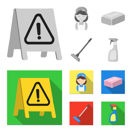 Cleaning and maid monochrome,flat icons in set collection for design. Equipment for cleaning vector symbol stock web illustration.