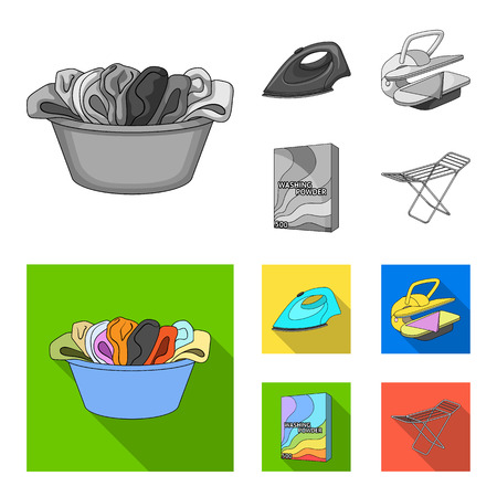 A bowl with laundry, iron, ironing press, washing powder. Dry cleaning set collection icons in monochrome,flat style vector symbol stock illustration web. Vectores