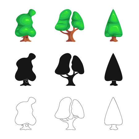 Vector design of tree and nature icon. Set of tree and crown vector icon for stock. Иллюстрация